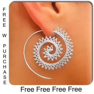 ‼️FREE‼️w Purchase Boho Retro Swirl Silver Earring
